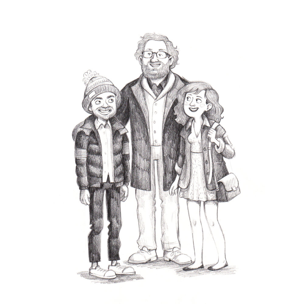 Drawing of Dev, Arnold and Rachel from the Netflix show Master of None.