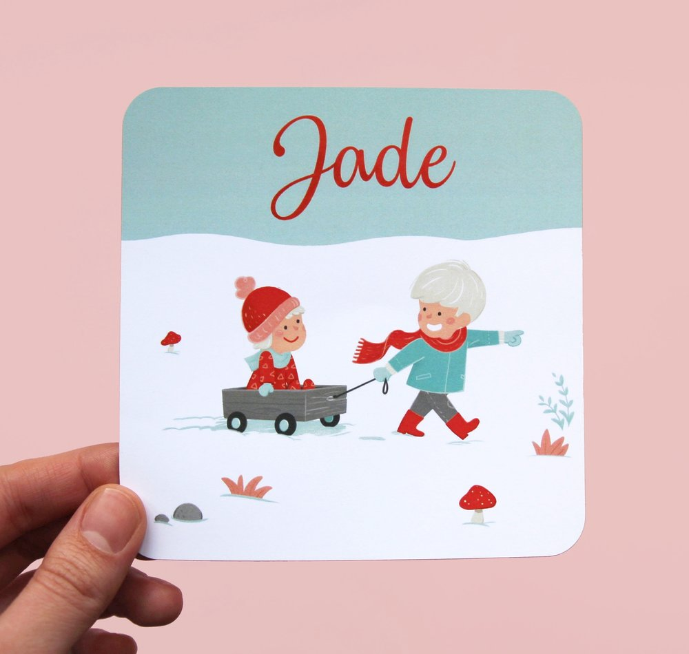 Birth announcement card for Jade.