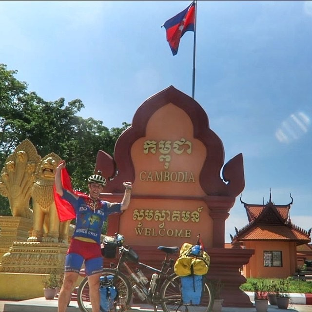 BREAKING NEWS: Tim has crossed from Laos into Cambodia!  Let's see what country number 23 serves up on this world cycle adventuer ! 🚵  #TakeaChallenge  www.supercyclingman.com