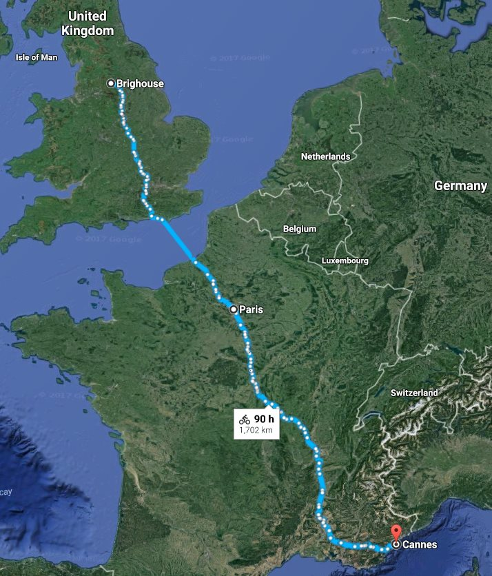 Brighouse, Yorkshire to Cannes via Paris, France