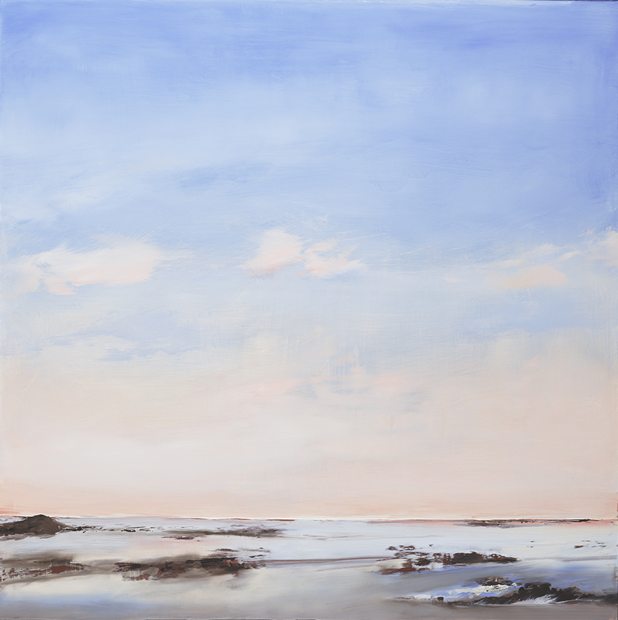 """In Finn's seascape, Morning Still, I was struck by the stark, yet rich color and seemingly minimalist composition. The formality of this particular piece, in its low horizon line, opens up space, air, and the cool, New England winter light. This painting presented itself to me as a gen."" - Diane Ayott"