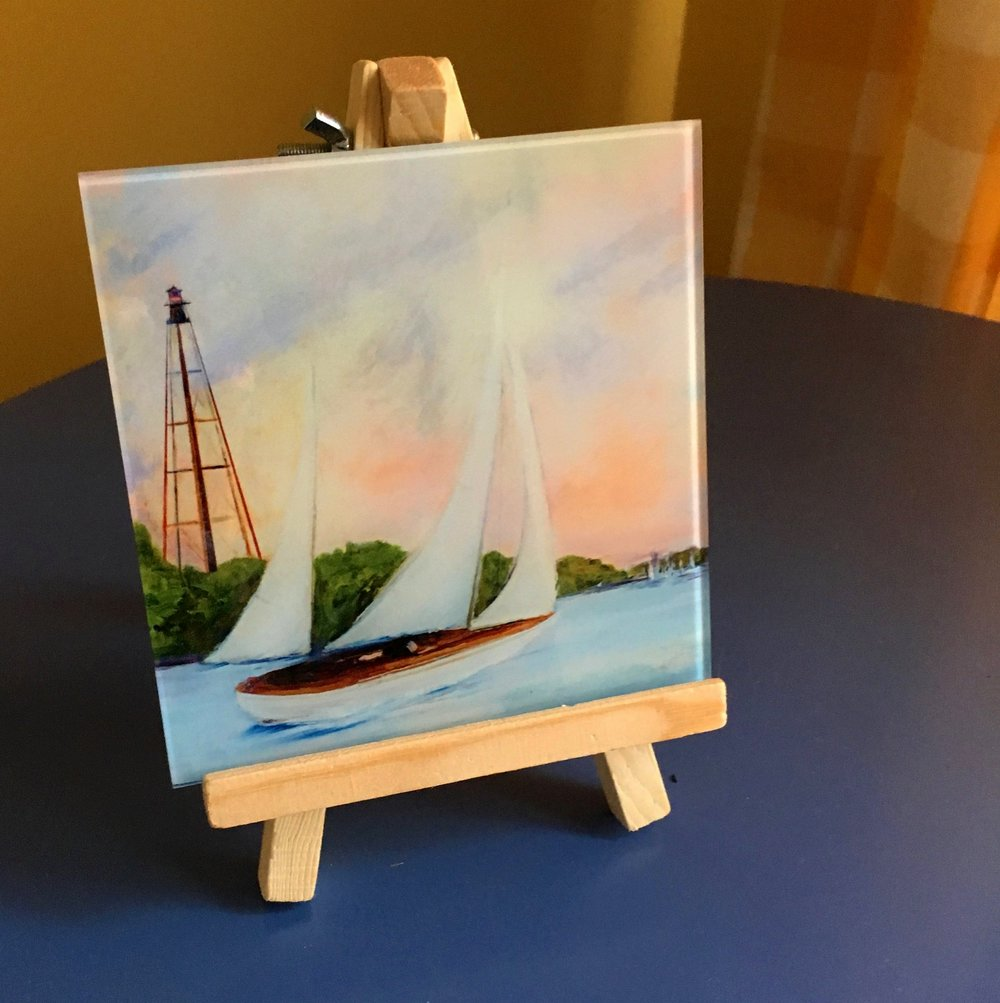 Evening Sail, displayed on the mini easel. The easel stand comes with every small glass print.