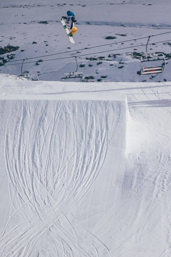 Takeoff — Look at the lines in the snow that are set to help make spinning easier