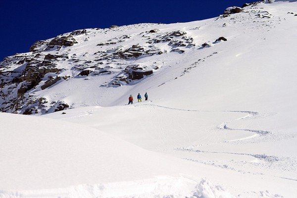 The crew ready to drop in Hintertux
