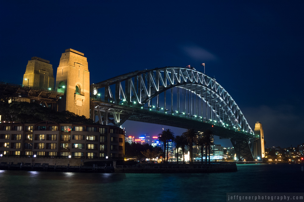 Sydney Harbour Bridge at night. Long exposure with camera on a tripod.