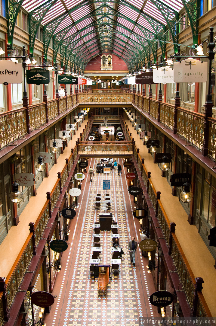 The Strand Arcade, Sydney. Mid-range aperture used for depth of field to match scene.