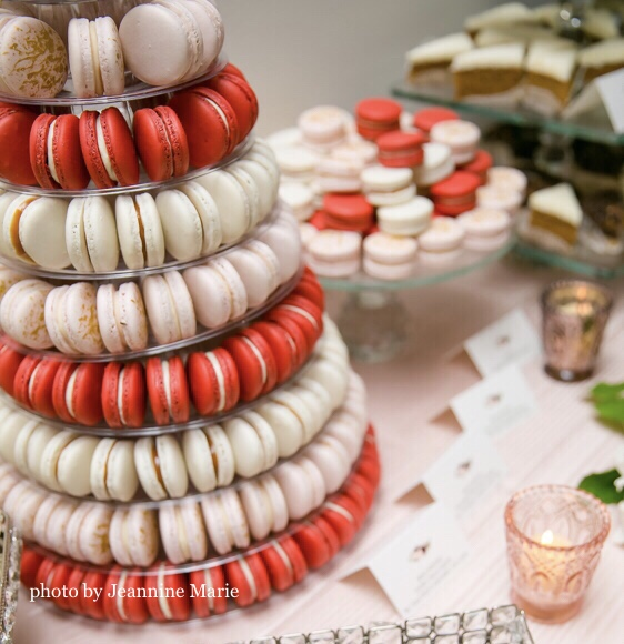 Macaron Tower Red Velvelt Ivory Pink Gold Splash Photo.jpg