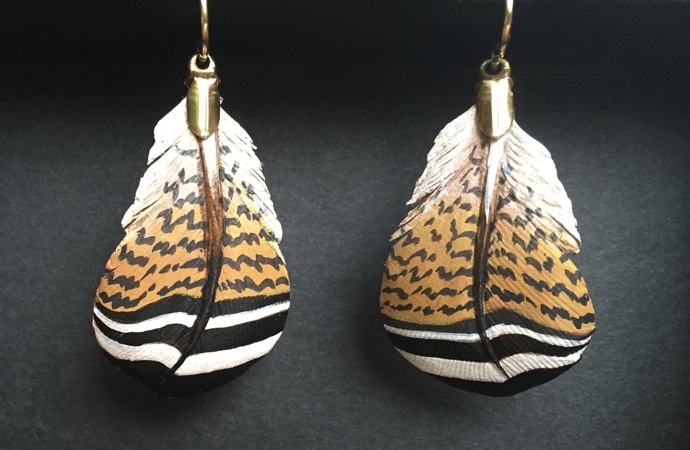 Pheasant Breast Pocket Feather Earrings