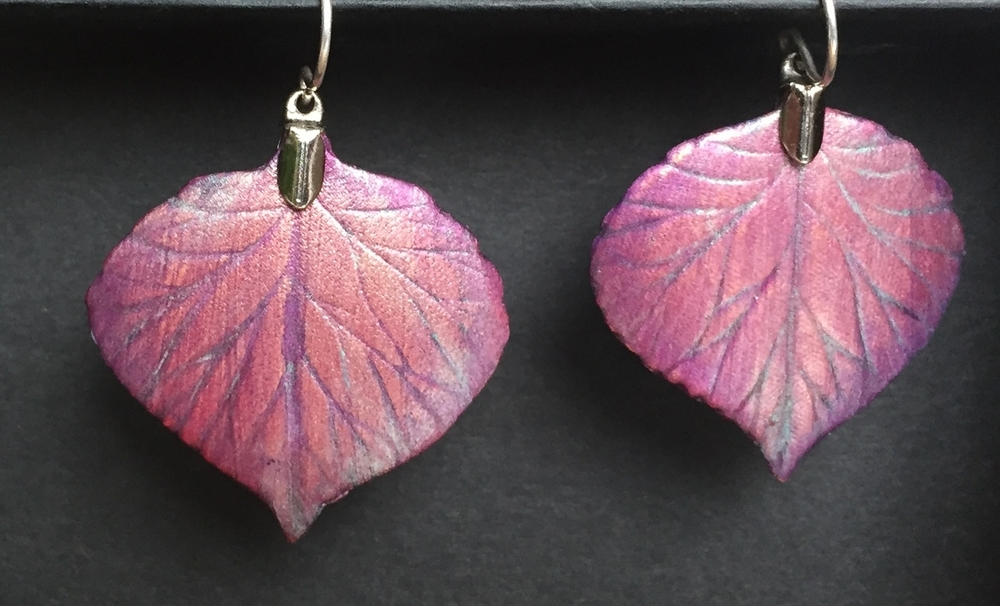 Fanciful Leather Aspen Leaf earrings