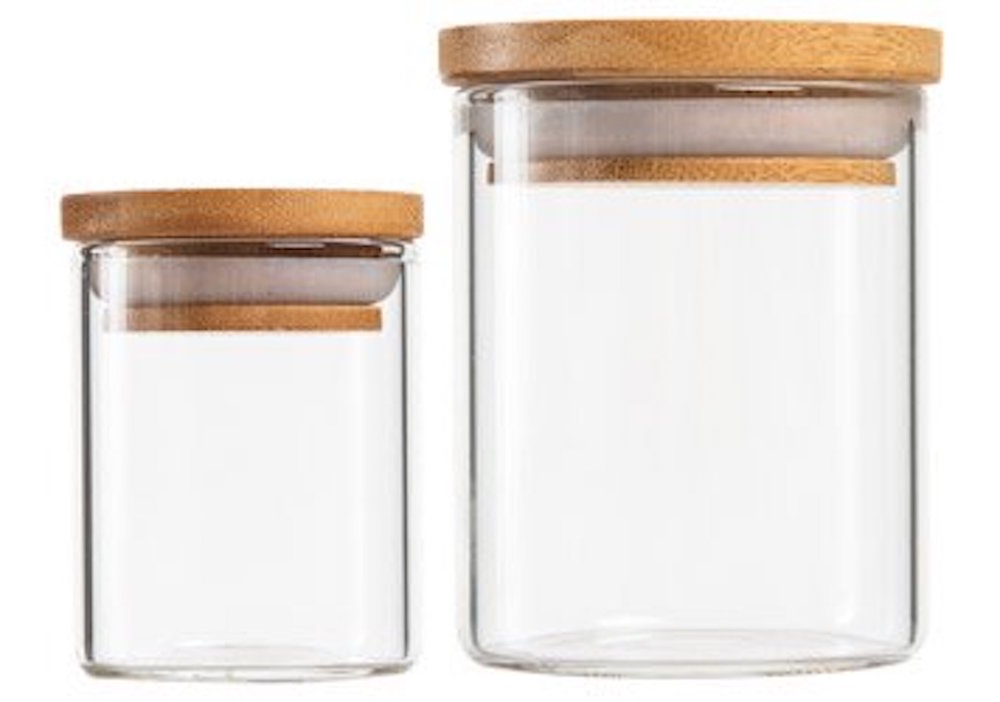 Premium Glass Jars with Bamboo Lid   2.5oz (200 qty) - $279.99 ($1.40/unit)  5oz (100 qty) - $179.99 ($1.80/unit)  10oz (100 qty) - $254.99 ($2.55/unit)  18oz (50 qty) - $134.99 ($2.70/unit)  (Cork lids also available)
