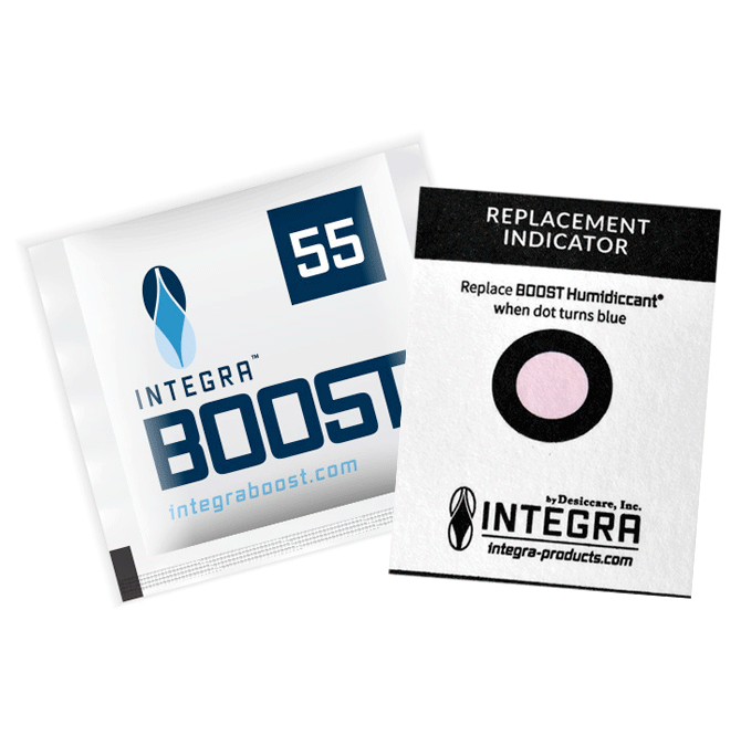 Integra Boost Humidity Control Packets w/ Indicator Card   - 55% OR 62%  4g - ideal for up to 12 grams (600 qty) - $299.99 ($0.50/unit)  8g - ideal for 12-28 grams of flower (300qty) - $194.99 ($0.65/unit)  67g - ideal for up to 1lb of flower (100 qty) - $229.99 ($2.30/unit)  Prevents mold, preserves smell & taste, extends shelf life, retains weight, and accurately monitors humidity level with humidity indicator cards