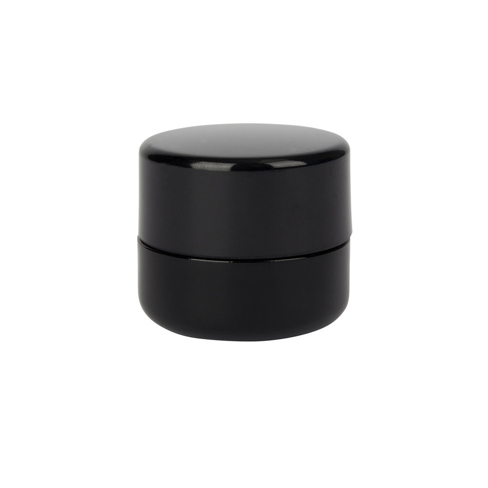 5ml Black UV Glass CR Concentrate Container   UV glass, polypropylene lid, PET (polyethylene) liner, 32mm (diameter), 31.5mm (height), 4mm thickness  (150 qty) - $165.99 (1.11/unit)