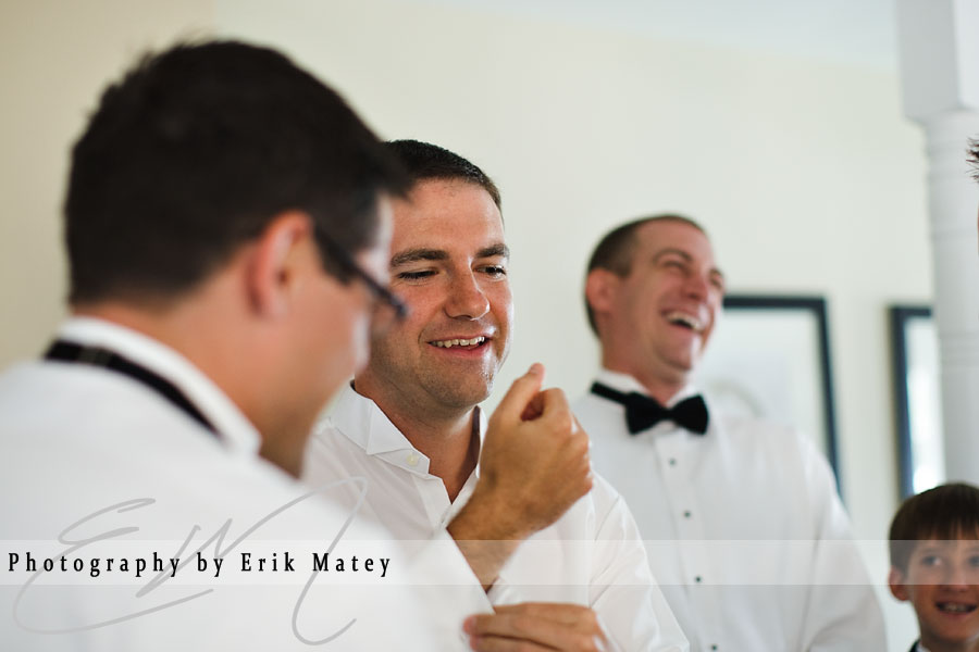 groom with guys getting ready