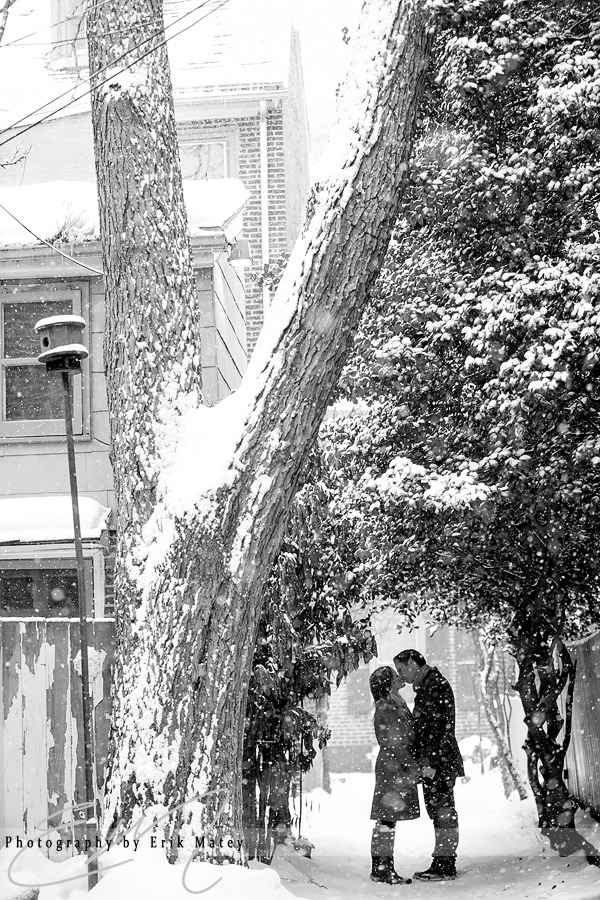 engagement session in the snow