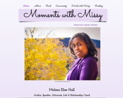 Melissa Hall is an author and motivational speaker. She is great at providing an uplifting message to whomever needs it! I read her book and enjoyed it so make sure to visit her page.