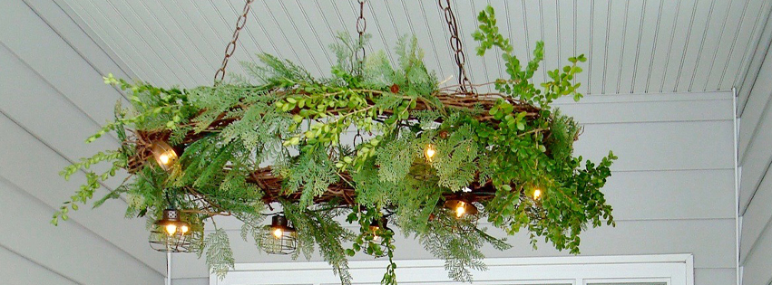 DIY Grapevine Wreath Chandelier by Tahni at Urban Cottage Living | diy wreath | diy christmas | christmas front porch | christmas lighting