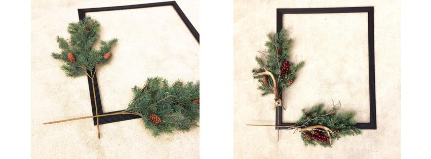 urban cottage living | frame wreath | wreath frame | christmas art | diy wreath | diy christmas decor