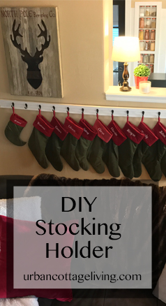 urban cottage living | diy stocking holder | stocking holder without a mantle | stocking holder without a fireplace | stocking holder for a small house | urbancottageliving.com