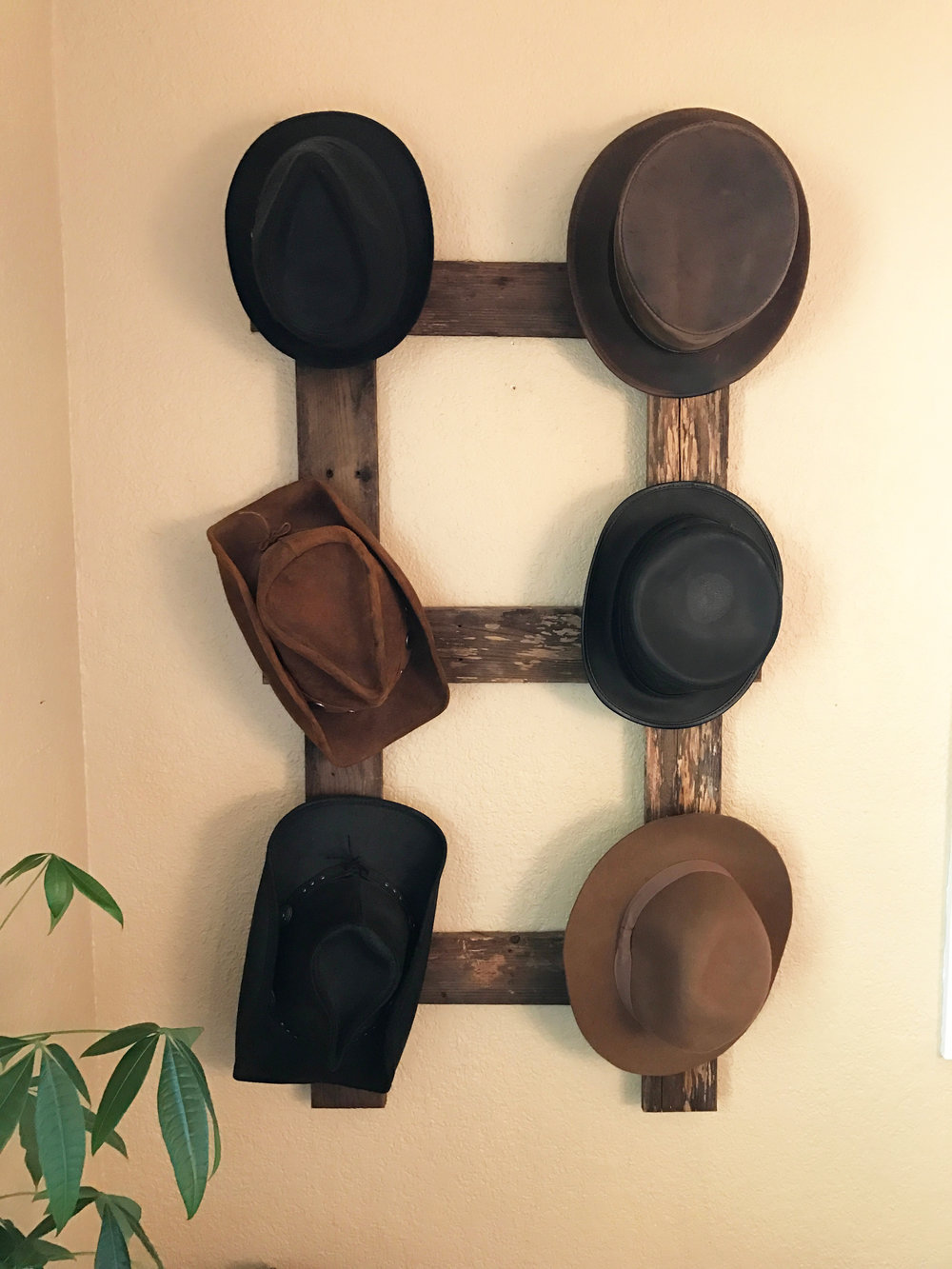 Easy DIY rustic hat rack with step by step instructions at urban cottage living