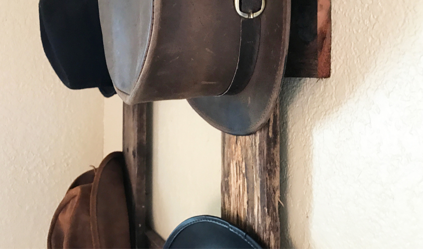 Easy DIY rustic hat rack with instructions at urban cottage living