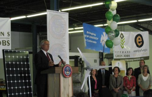 Veterans Green Jobs hosted Governor Bill Ritter's last energy bill signing event of his legislative term.