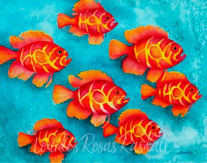 Fish | Watercolor Orange Fish Painting by Lourdes Rosas Rasdall