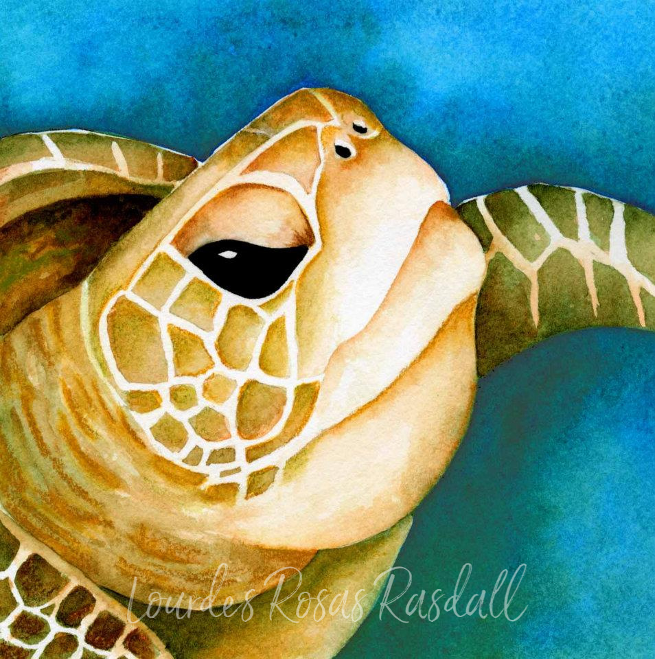 great green one | watercolor turtle painting by Lourdes Rosas Rasdall