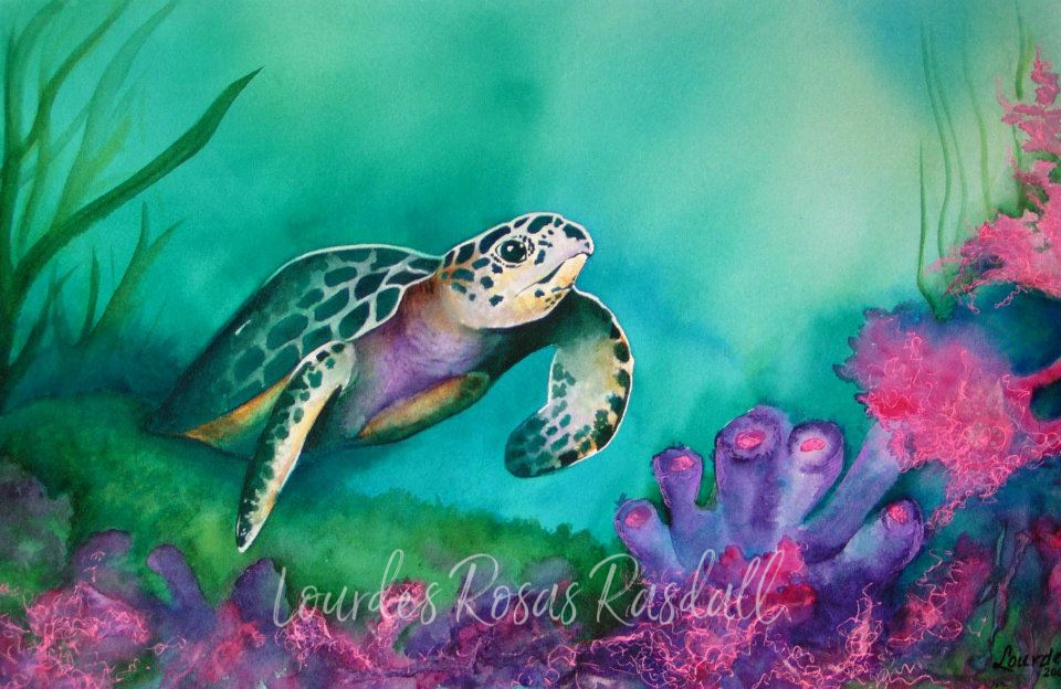 voyager | watercolor underwater turtle painting by Lourdes Rosas Rasdall