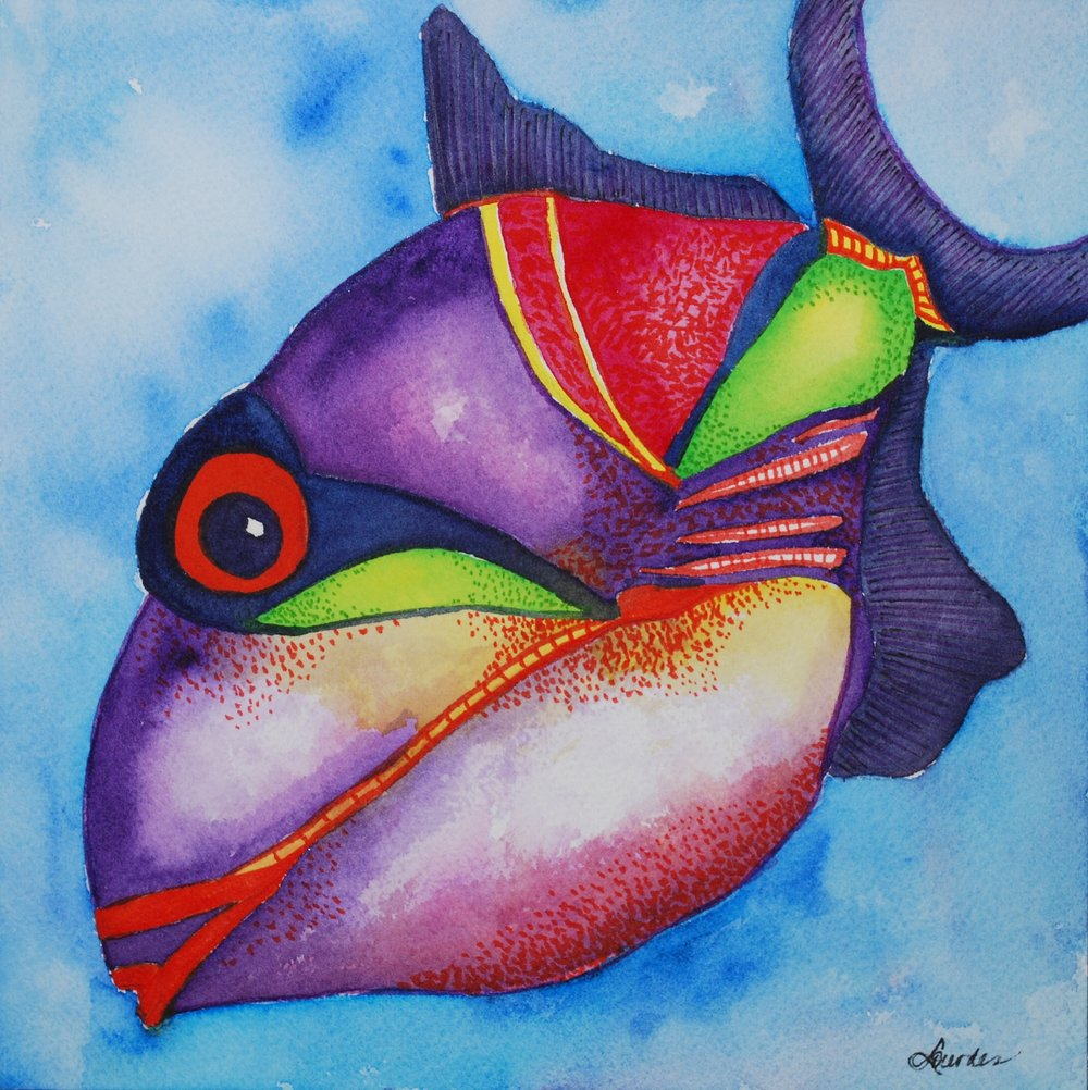 funky fish | tropical watercolor fish painting by Lourdes Rosas Rasdall