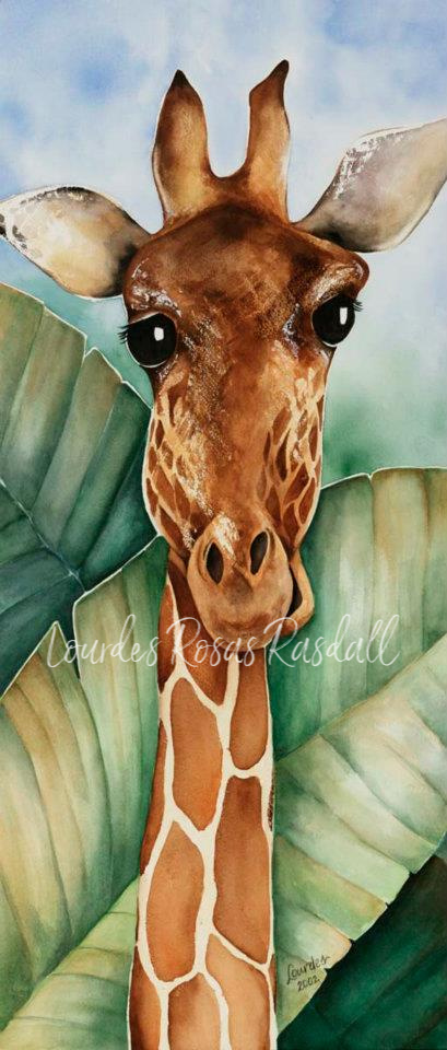 In the Green | Watercolor Giraffe Painting by Lourdes Rosas Rasdall