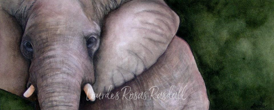 Magestic | Wildlife elephant painting by Lourdes Rosas Rasdall