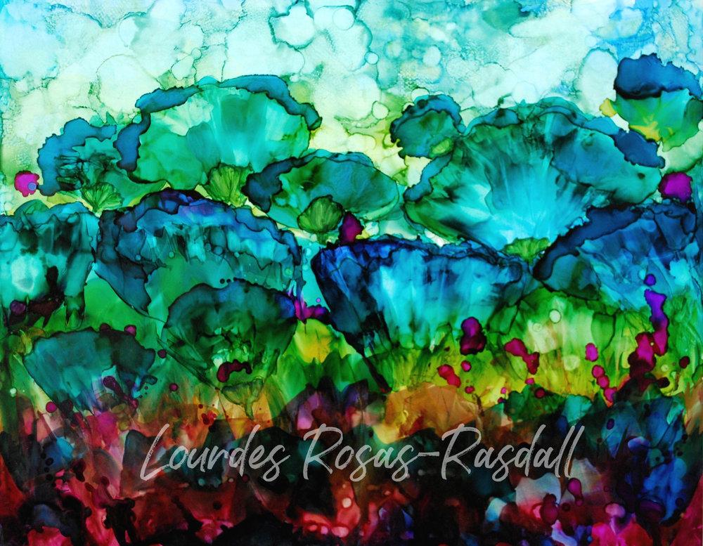 Blues in Bloom | Watercolor Painting by Lourdes Rosas Rasdall