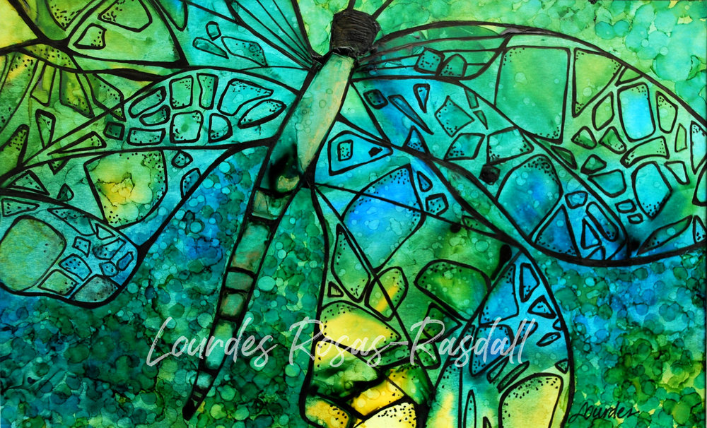 Garden jewels | Watercolor Dragon Fly Painting by Lourdes Rosas Rasdall