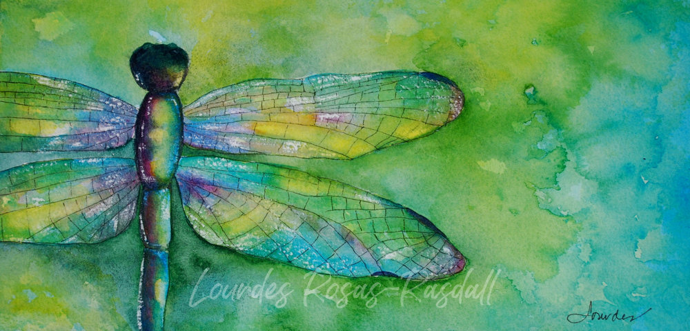Little Big Things  | Watercolor Dragon Fly Painting by Lourdes Rosas-Rasdall