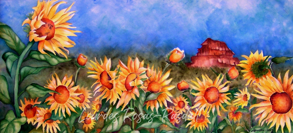 Sunflowers | Watercolor Flower Painting by Lourdes Rosas-Rasdall