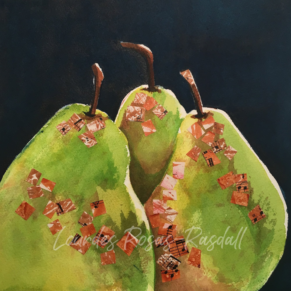 Pears | Watercolor mixed media painting