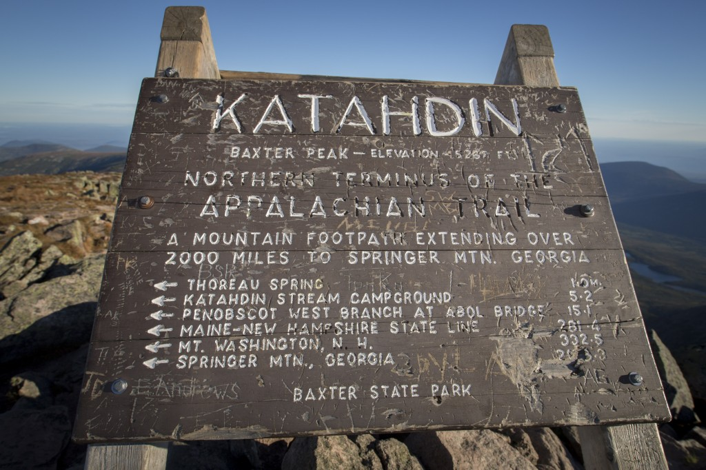 Detail shot of the summit sign atop Mount Katahdin!