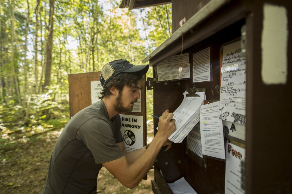 Here I am signing in at the begining of Baxter state park to reserve my spot at our last shelter at the base of Katahdin known as The Birches!