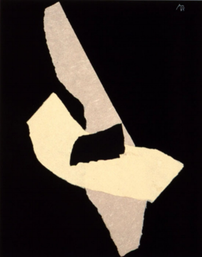 ROBERT MOTHERWELL Night Music Opus #21, 1989 Rice paper collage and acrylic on handmade canvas panel 32 1/2 x 25 1/2 inches