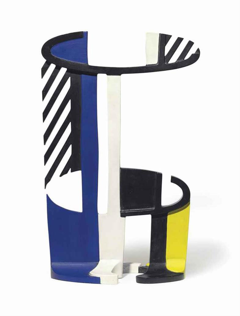 ROY LICHTENSTEIN Little Glass, 1979 Painted bronze 19 1/4 x 11 3/8 x 5 1/2 inches Edition: 6
