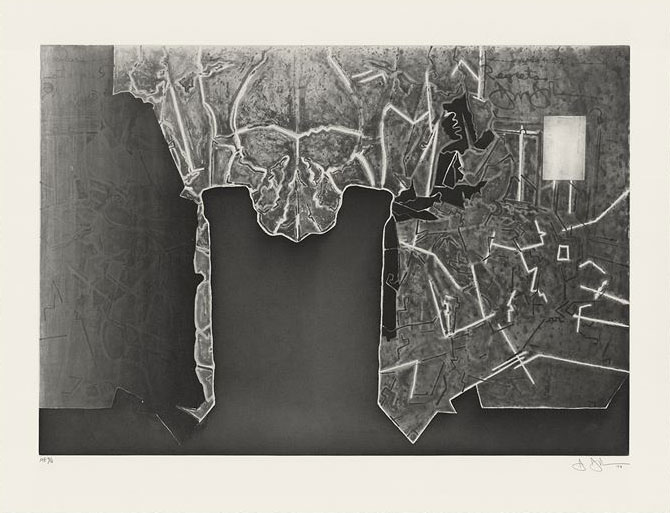 JASPER JOHNS    Regrets , 2014 Intaglio with chine collé on Revere Standard White Suede paper 26 1/4 x 34 1/8 inches Edition: 36