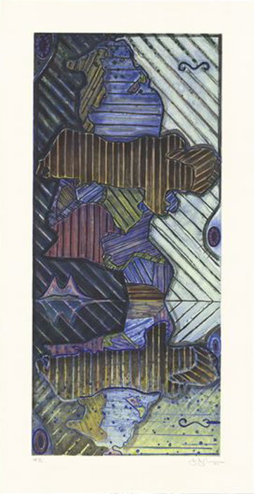 JASPER JOHNS    Green Angel 2 , 1997 Intaglio in 5 colors on Hahnemuhle Copperplate paper 48 x 24 3/4 inches Edition: 58