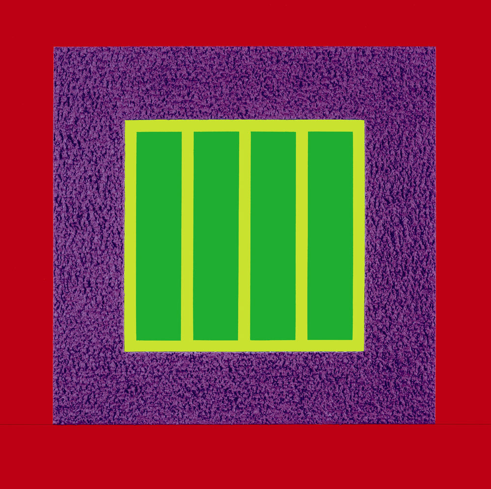 PETER HALLEY Prison with Green Window, 2011 Acrylic, Day-Glo acrylic, Roll-a-Tex on canvas 30 x 30 inches