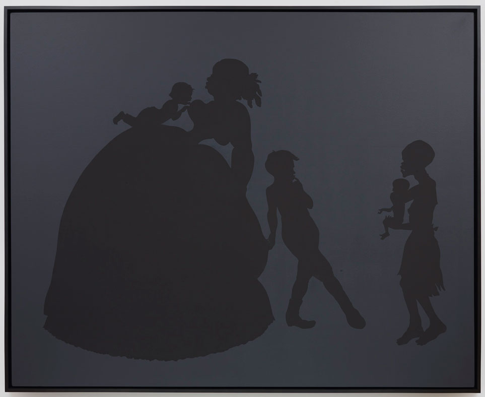 "KARA WALKER                         Normal     0                     false     false     false         EN-US     JA     X-NONE                                                                                                                                                                                                                                                                                                                                                                                                                                                                                                                                                                                                                                                                                                                  /* Style Definitions */ table.MsoNormalTable 	{mso-style-name:""Table Normal""; 	mso-tstyle-rowband-size:0; 	mso-tstyle-colband-size:0; 	mso-style-noshow:yes; 	mso-style-priority:99; 	mso-style-parent:""""; 	mso-padding-alt:0in 5.4pt 0in 5.4pt; 	mso-para-margin:0in; 	mso-para-margin-bottom:.0001pt; 	mso-pagination:widow-orphan; 	font-size:12.0pt; 	font-family:Cambria; 	mso-ascii-font-family:Cambria; 	mso-ascii-theme-font:minor-latin; 	mso-hansi-font-family:Cambria; 	mso-hansi-theme-font:minor-latin;}        Untitled , 2002-2005 Cut paper and paint on canvas 85.5 x 106.125 inches"