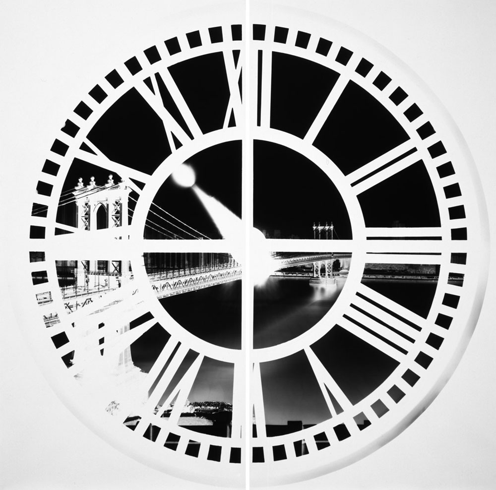 VERA LUTTER Clock Tower, Brooklyn, III: May 20, 2009, 2009 Unique gelatin silver print 2 panels: 98 5/8 x 98 5/8 inches overall