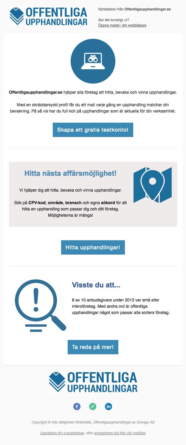 Nyhetsbrev, Offentligaupphandlingar.se