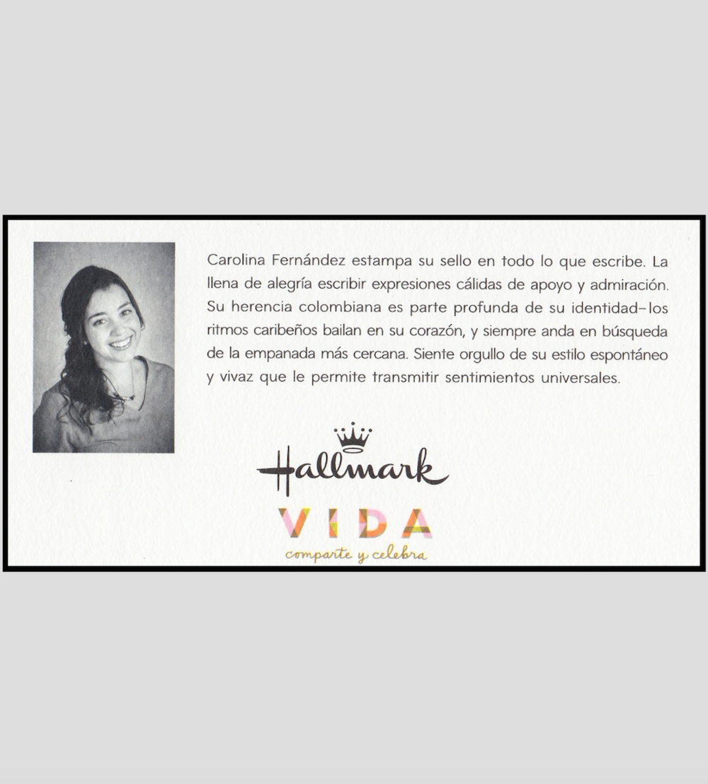 Cardbacks of Carolina Fernandez Graduation Collection (Hallmark Vida)