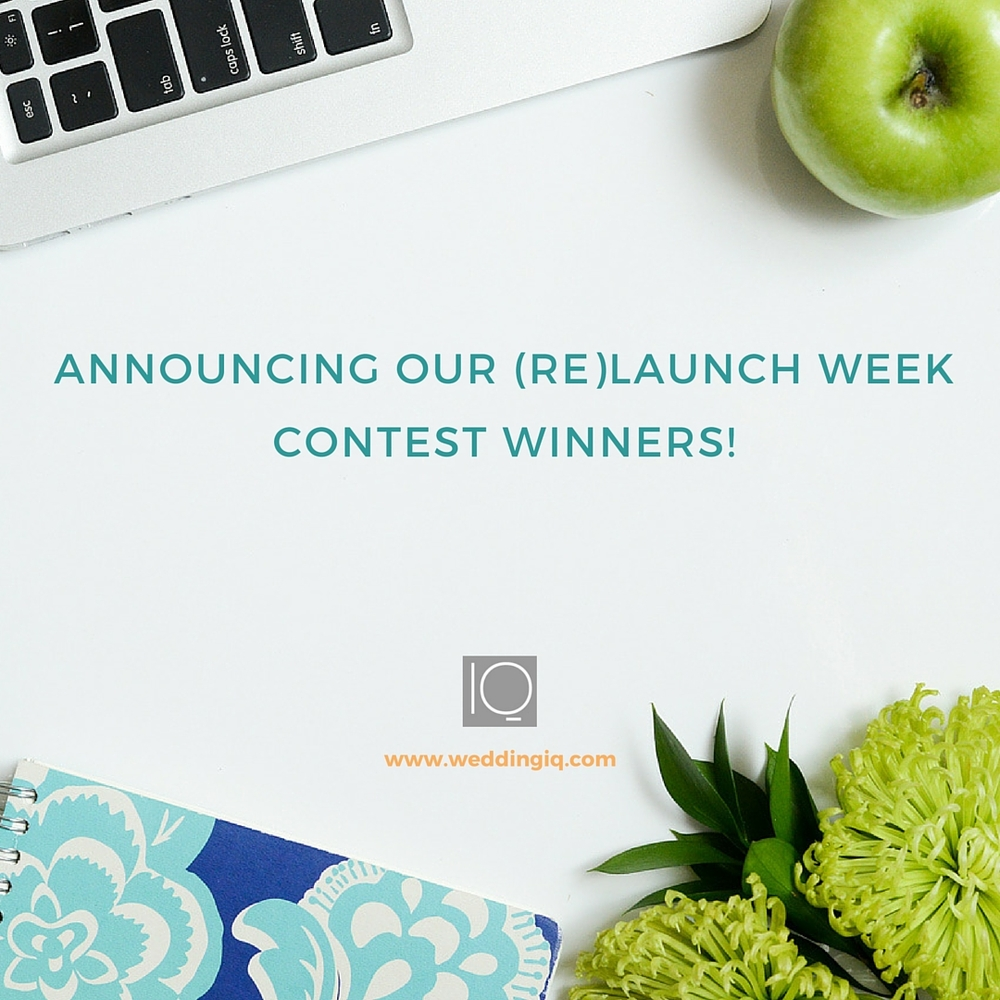 WeddingIQ Blog - Announcing Our (Re) Launch Week Contest Winners!