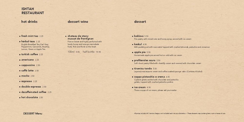 Download PDF version of Dessert Menu