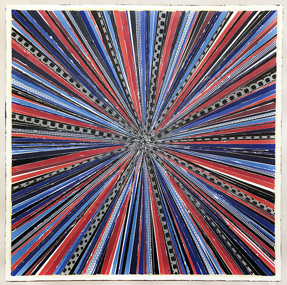 "Above image:  L. Mylott Manning,  Stargate: Superstring 22 , 2017, fabric, paint, thread, Reiki energy, 36"" x 36"""